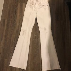 7 For All Mankind - White Flare Pants - Distressed
